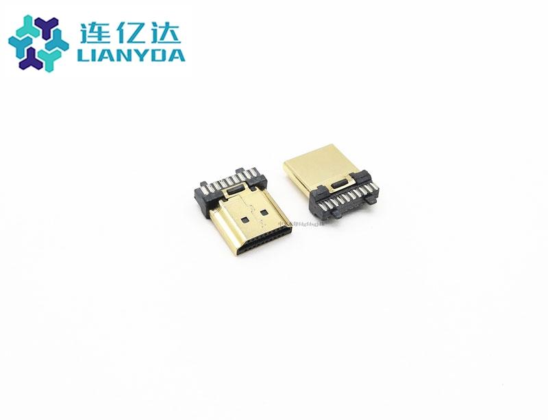 0285 HDMI 公头 19P U型杯口有柱 B款 端子1U LCP料 铁壳镀金0.4U 不加锡 (2)