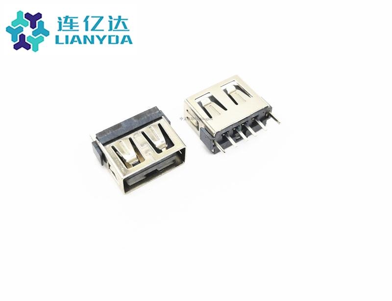 USB 2.0 AF  短体直插L=10.0 一字排端子