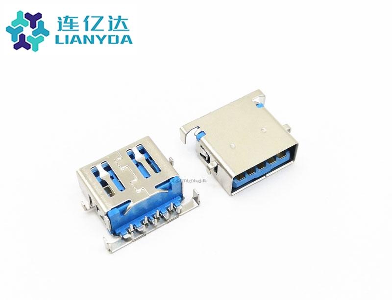 USB 3.0 AF 沉板 双排端子90°  外扩鱼叉脚 板上1.86